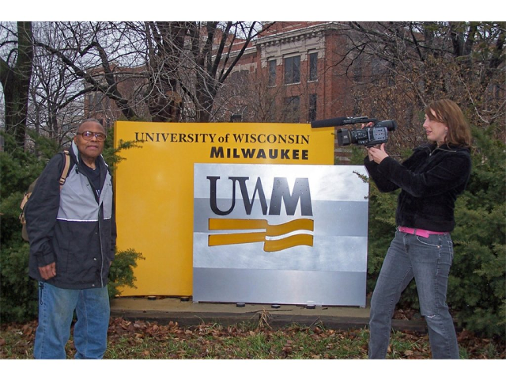 Kristin filming Clarence at UWM
