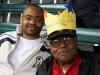 Clarence with his son, Red, at his Brewer birthday celebration
